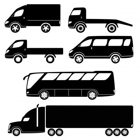 Modern passenger and freight cars silhouettes