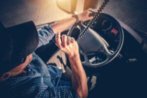 trucker under the wheel