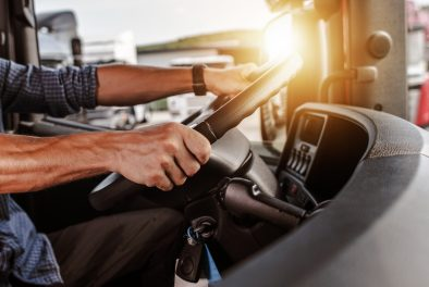 a trucker behind the wheel