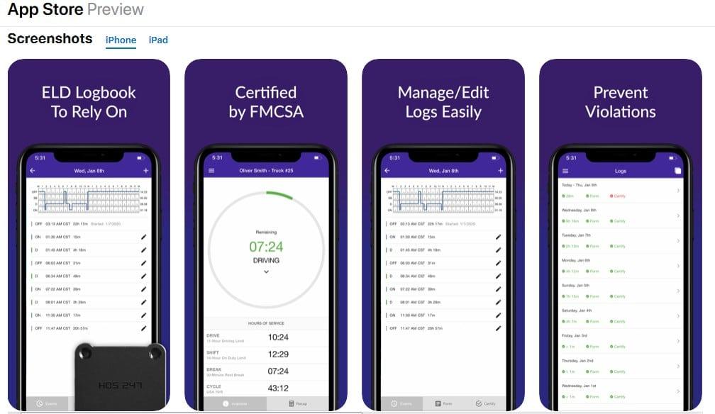 HOS247 ELD Ios App