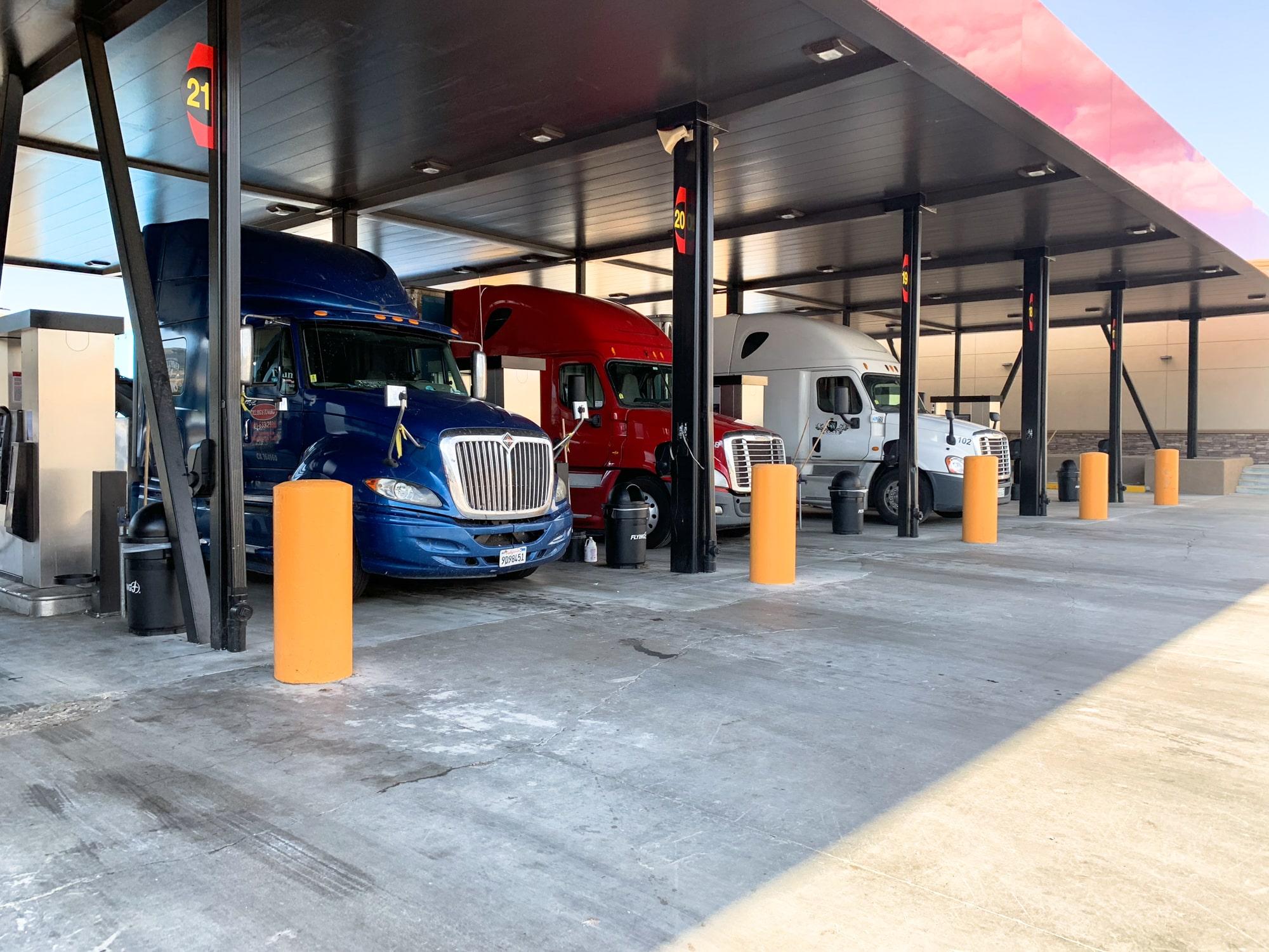 trucks on gas station