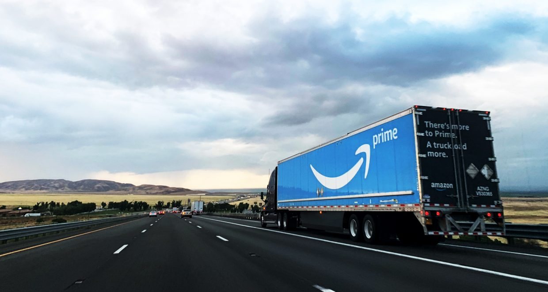 Amazon truck on highway