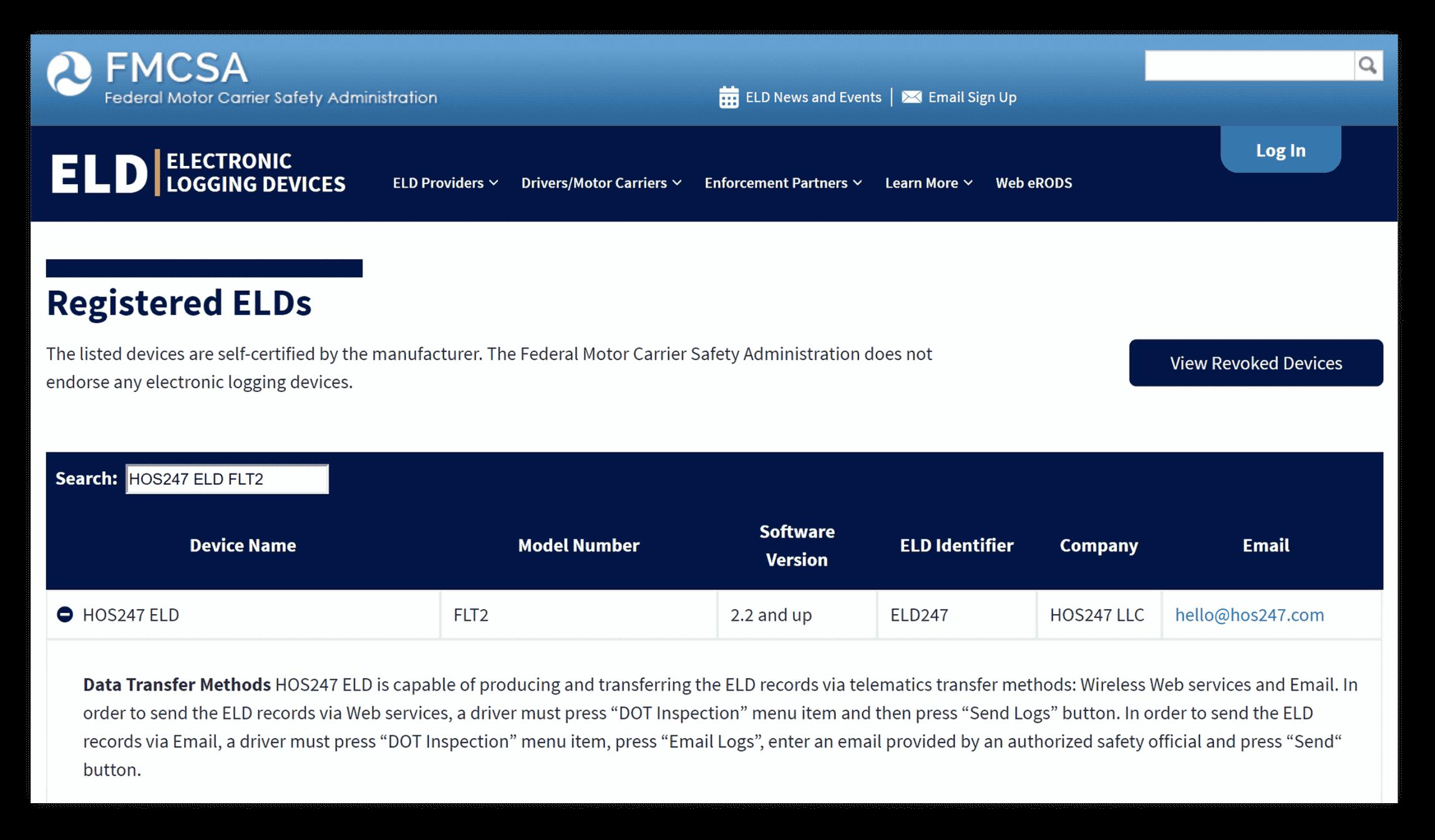 HOS247 FMCSA registration