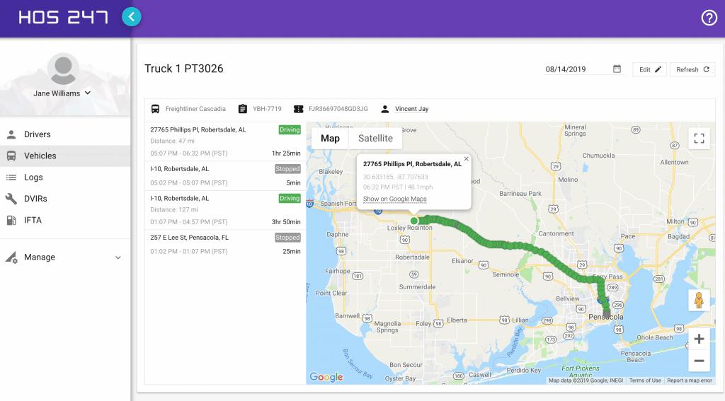 HOS247 fleet tracking portal