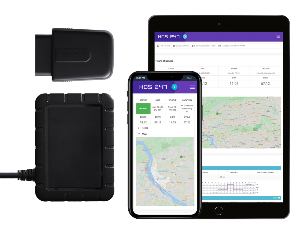 HOS247 GPS devices and app