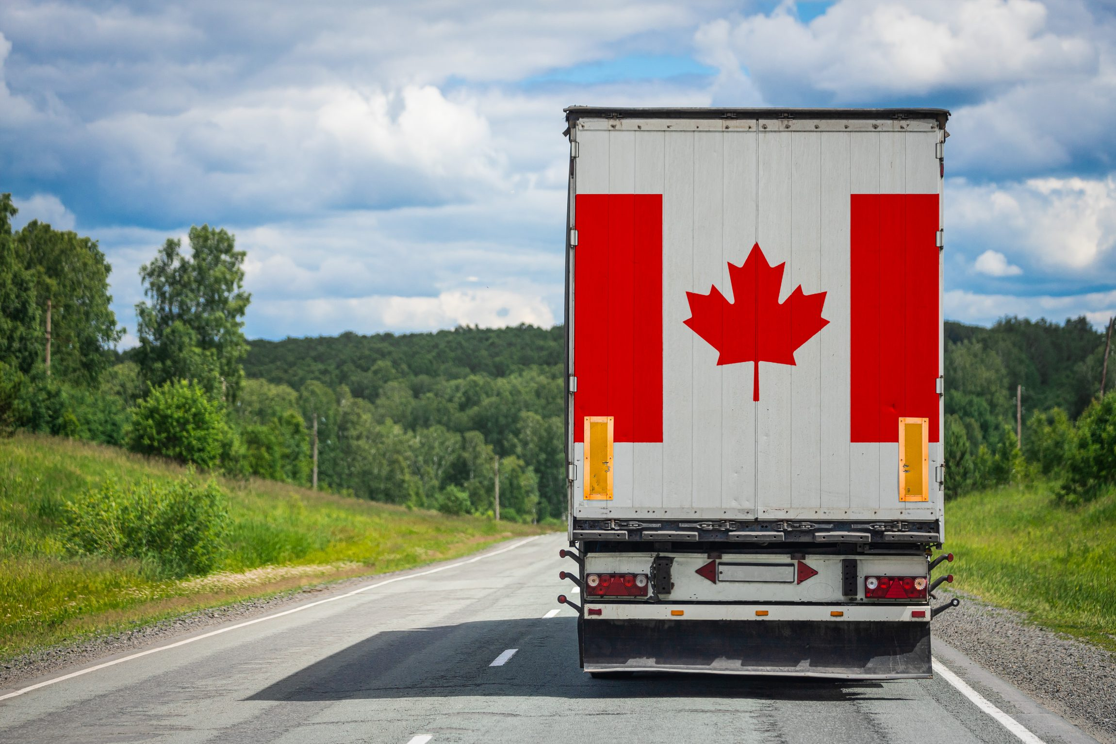 truck with canadian flag