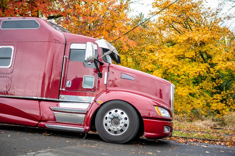 red american semi truck