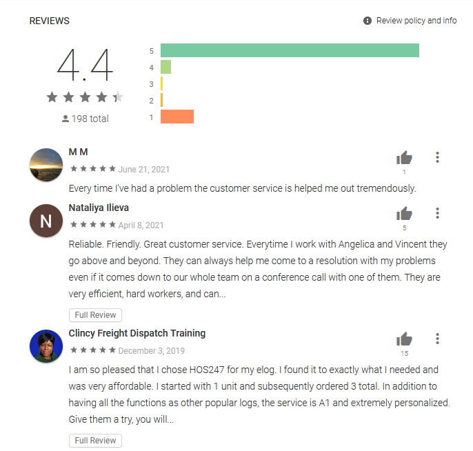 HOS247 ELD app for Android reviews