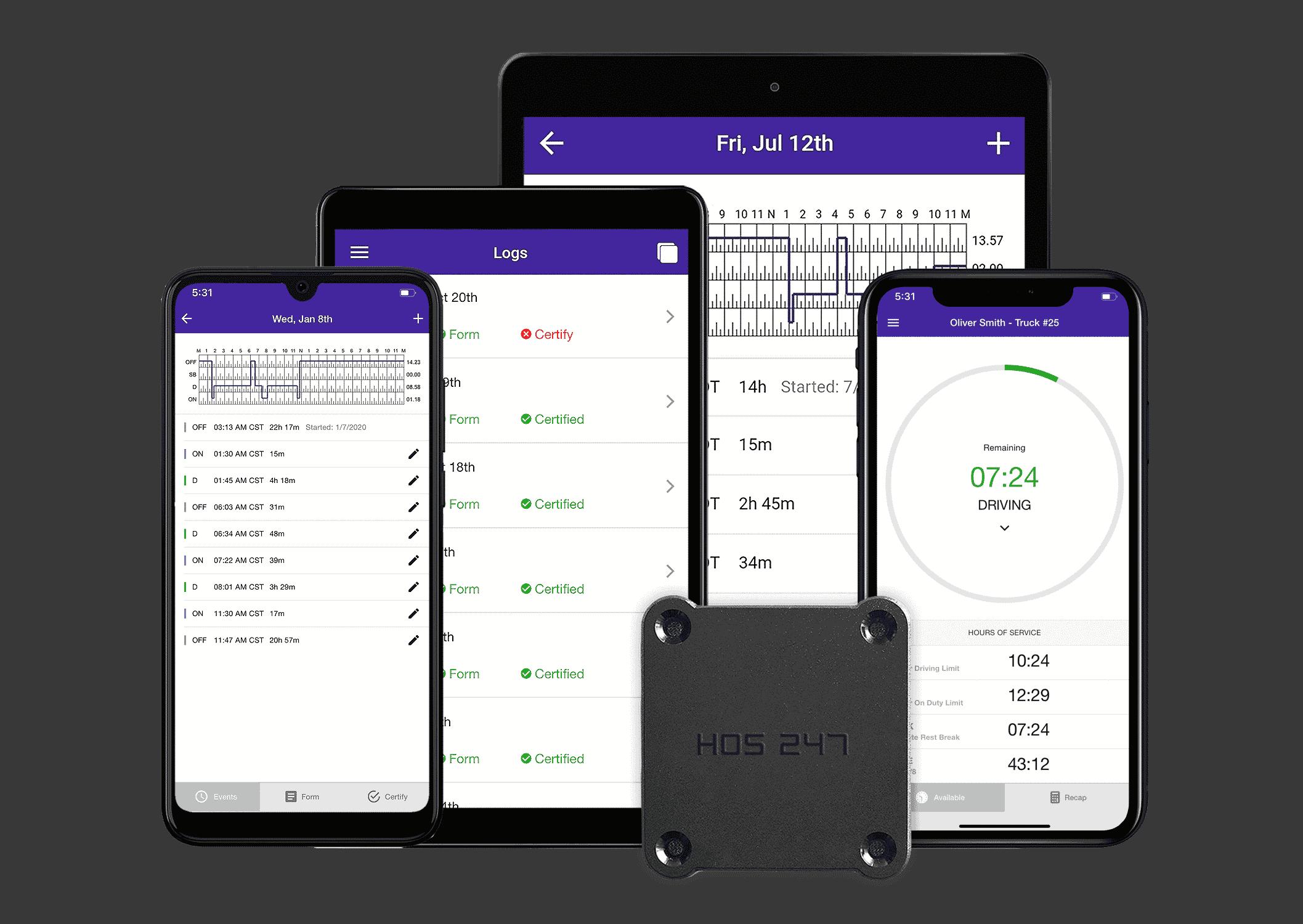 HOS247 electronic logbook app