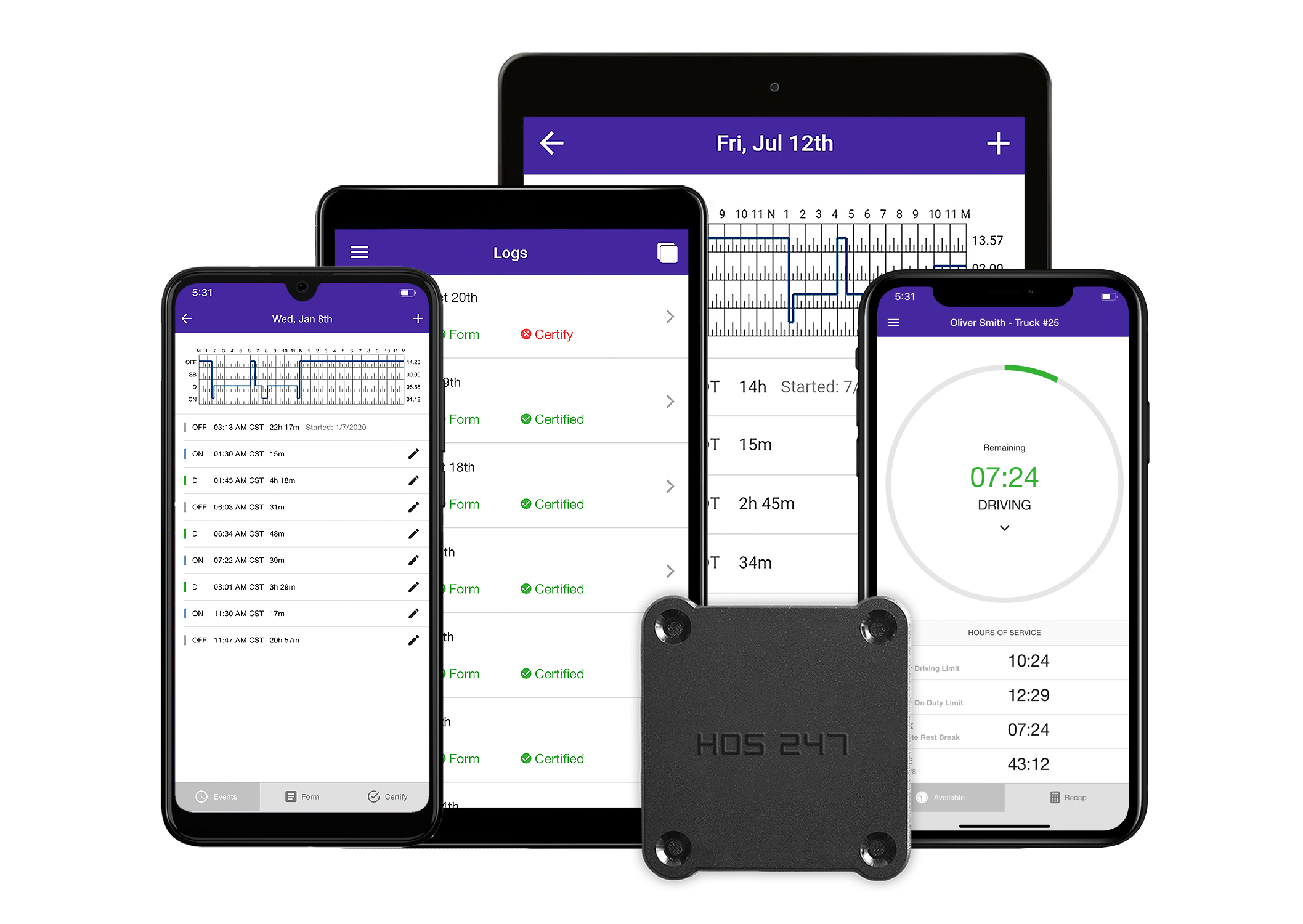 HOS247 logbook app on different devices